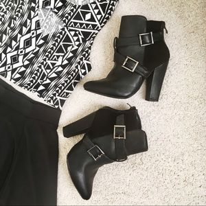 Black Strappy Booties